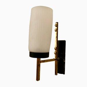 Wandlampe aus Messing & Opalglas, 1960er