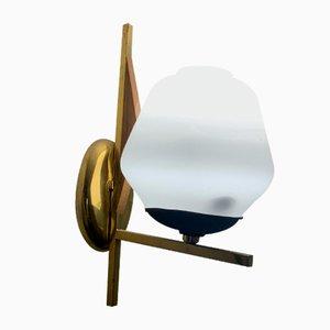 Italienische Mid-Century Opalglas & Messing Wandlampe