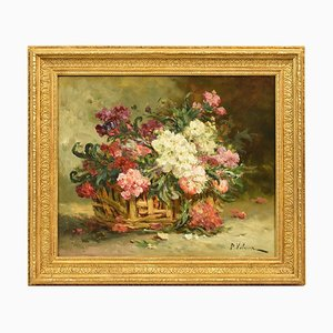 Antique FlowerPainting, 19th-Century, Oil on Canvas
