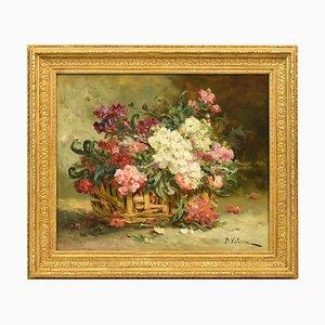 Pittura antica floreale, XIX secolo, olio su tela