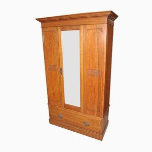 Oak Mirrored Wardrobe with 1 Door, 1940s