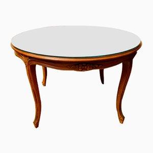 Tavolino da caffè in legno di noce intagliato con ripiano in vetro, anni '60