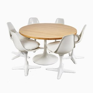 Mid-Century Tulip Dining Table & Chairs Set by Maurice Burke for Arkana, 1960s, Set of 7