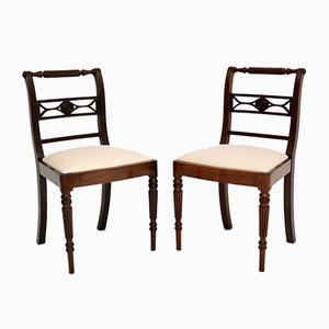 Antique Regency Mahogany Rope Back Side Chairs, Set of 2