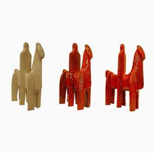Ritter aus Keramik von Alvino Bagni, 1950er, 3er Set