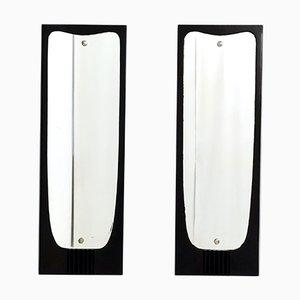 Ebonized Wood Wall Mirrors Attributed to Osvaldo Borsani, 1950s, Italy, Set of 2