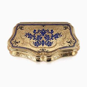 Russische 14K Gold & Emaille Schmuckschatulle, 19. Jh