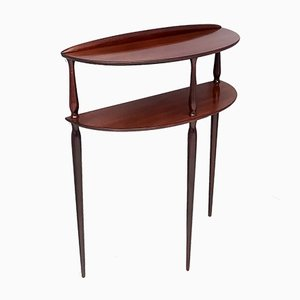 Mahogany Console Table with Shelves, Italy, 1950s