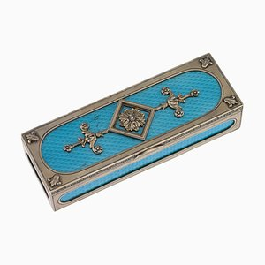 20th-Century Russian Solid Silver & Guilloche Enamel Stamp Box by Karl Fabergé
