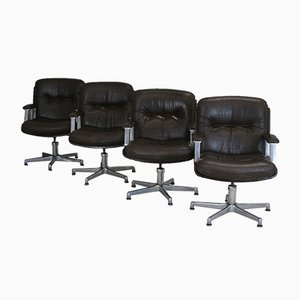 Brown Leather Desk Chairs from Vaghi, 1960s, Italy, Set of 4