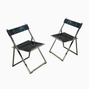 Vintage Industrial Chairs with Leather Belts, Set of 2