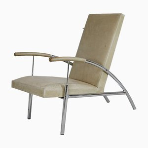 Tubular Steel and Leather Cream Armchair, France, 1970s