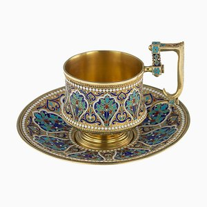 19th-Century Imperial Russian Solid Silver-Gilt & Enamel Cup On Saucer by Mikhail Timofeev