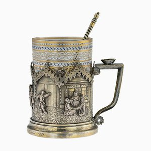 19th-Century Russian Trompe L'oeil Solid Silver Tea Glass Holder by Piotr Milyukov, 1878