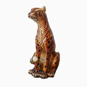 Portuguese Ceramic Leopard Sculpture, 1970s