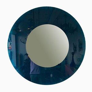 Italian Circle Mirror Blue Glass from Glas Italia, 1980s