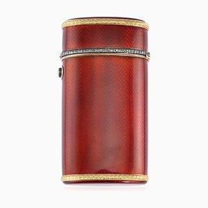 20th-Century Russian Faberge Silver, Gold & Enamel Cigarette Case by Henrik Wigstrom