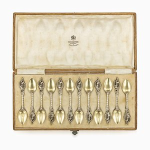 19th-Century Imperial Russian Faberge Silver-Gilt Coffee Spoons by Karl Faberge for Karl Faberge, Set of 12