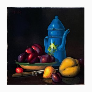 Patrick Cassar, Blue Coffee Maker, Oil on Canvas