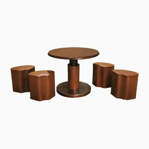 Motion Spieltisch mit 4 Holz Furnier Hocker, 1970er, 5er Set