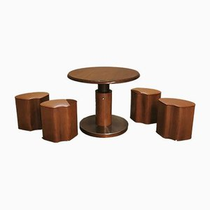 Motion Game Table With 4 Stools In Wood Veneer, 1970s, Set of 5