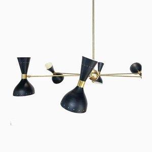 Lámpara de araña italiana vintage grande negra, años 50