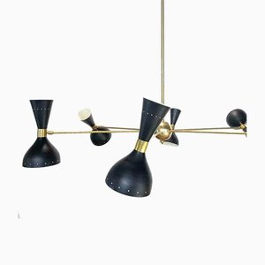 Large Vintage Italian Black Chandelier, 1950s