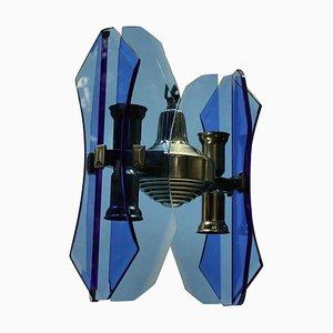 Lampada a sospensione piccola in vetro blu di Veca, anni '60