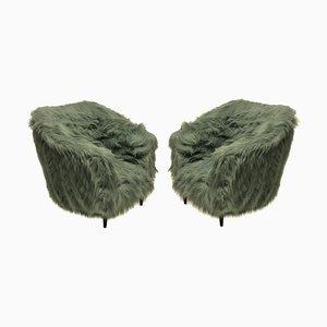 Italienische Mid-Century Sessel aus Buche & Kunstfell, 1950er, 2er Set