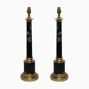 Lampes de Bureau Mid-Century en Colonne en Marbre Gris, Set de 2