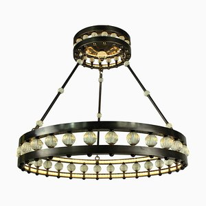 Large Vintage Art Deco Style Crown Chandelier