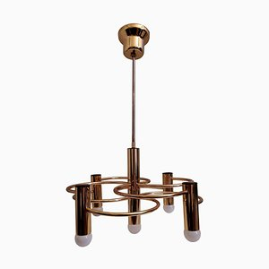 Vintage Brass Chandelier by Gaetano Sciolari for Boulanger, 1970s