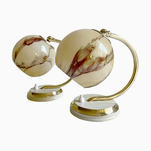 French Art Deco Table Lamps with Brass, Marble and Opaline Glass Shades, 1930s, Set of 2