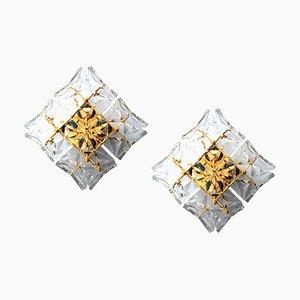 Applique in cristallo e ottone dorato di Kinkeldey, anni '60, set di 2