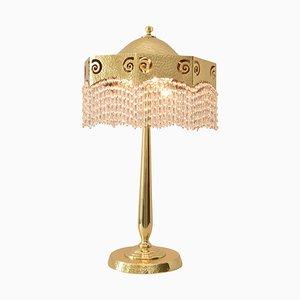 Tischlampe aus gehämmertem Jugendstil mit original geschliffenen Glaskugeln