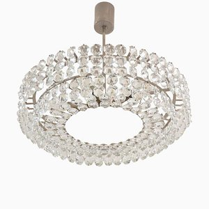 Brass Nickel-Plated Faceted Crystal Chandelier from Bakalowits & Söhne, 1950s