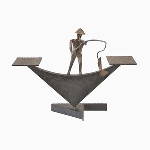 Viennese Iron Flower Stand with a Fish Catcher