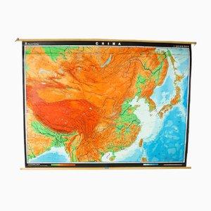 Großes Vintage China Poster von Veb Herman Haack für Geographisch-Kartotische Ansalt Gotha / Leipzig
