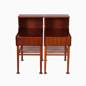 Danish Vintage Bedside Tables with Drawer and Wooden Rack, 1960s, Set of 2