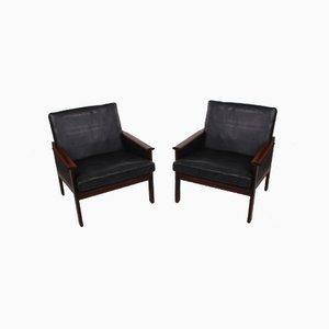 Black Leather Capella Armchairs by Illum Wikkelsø, 1958, Set of 2