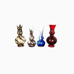 Polychrome Vintage Pop Art Opalglas Vasen, 1970er, 4er Set