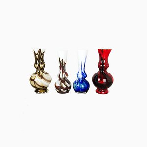 Vintage Multi-Colored Pop Art Opaline Glass Vases, 1970s, Set of 4