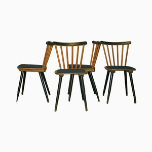Mid-Century Stick Back Dining Chairs with Petrol Blue Covers, Set of 12