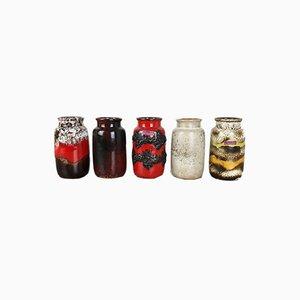 Vases Fat Lava 231-15 Vintage en Poterie de Scheurich, Allemagne, Set de 5
