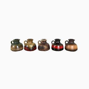 Vintage Fat Lava 493-10 Vasen aus Keramik von Scheurich, Deutschland, 5er Set