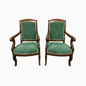 Mahogany and Velvet Lounge Chairs, 1810s, Set of 6