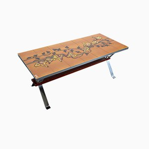 Handpainted Ceramic Coffee Table by Adri for Belarti, 1960s