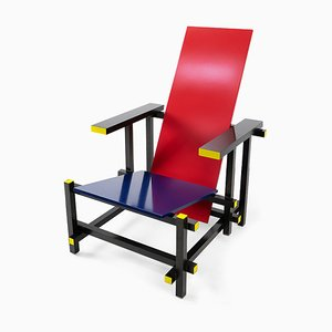 Red & Blue Armchair by Gerrit Rietveld for Cassina, 1990s