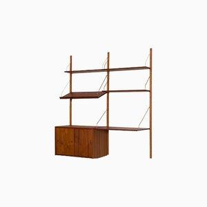 Teak Wandregal mit Schreibtisch und Kommode im Stil von Poul Cadovius, 1960er