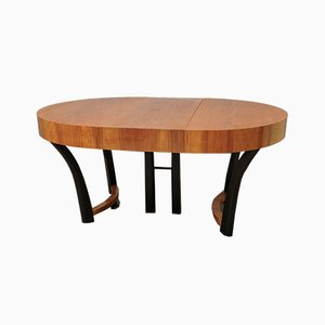Art Deco Italian Round Cherry Wood Dining Table, 1940s